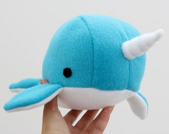 Handmade narwhal plush toy- Bubbles- blue soft fleece whale narwal plushie