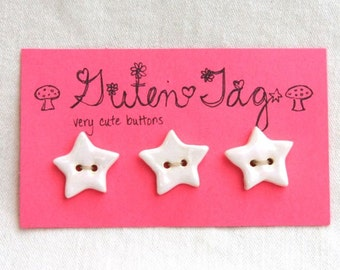 Star Ceramic Buttons Stoneware with White Glaze