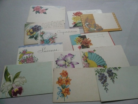 Vintage florist enclosure cards gc by papertales on etsy