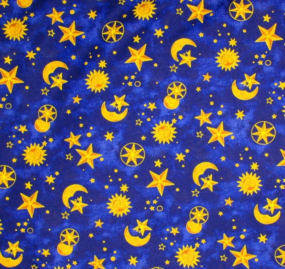Destash sun moon stars on navy fabric 2 yards new for Sun moon fabric