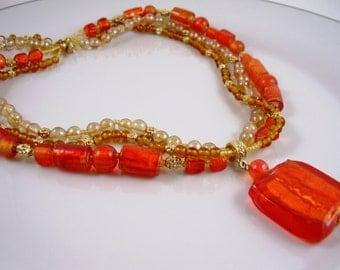 Necklace,Vintage 70's Triple Strand Orange Glass Pendant Necklace, Vintage Necklace, Orange Necklace, 70's Necklace Mandarin , Jewelry