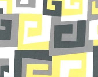 Citron Gray Canary Maze fabric | Cotton Quilting fabric | Michael Miller PC5747