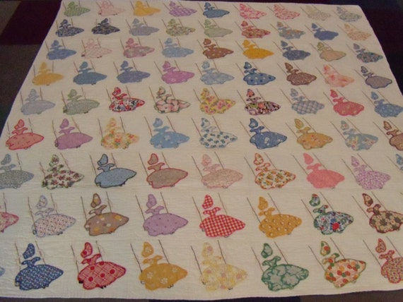 Sunbonnet Sue Applique Vintage Quilt Blocks Hand Quilted
