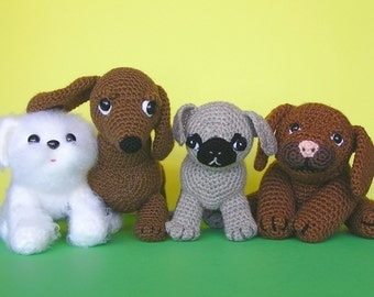 CROCHET PDF PATTERN 4 Puppies