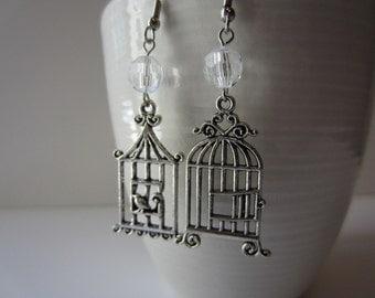 Asymmetrical Bird cage earrings