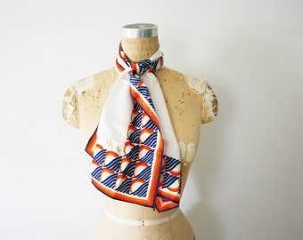 vintage 70s The Sea and the Sun Nautical Long Scarf by Vera Neumann