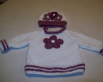 Baby Girl Sweater, Baby White Pullover with Hat Rose Pink Colored Flowers, Baby Sweater Pullover, Baby Girl Sweater Handknitted, Baby Gift