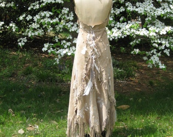 Leather Wedding Dress Native American Inspired Tribal Boho Wedding Dress Western Wedding Dress, One of a Kind, Custom made to order