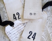 Handmade French Gift Tags Shabby White Tags Vintage White Decor Cottage Style Shabby White Decor All Occasion Tags White Number Tags