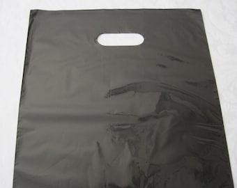 50 Black Plastic Bags, Black Bags, Gift Bags, Favor Bags, Bags with Handles, Plastic Shopping Bags, Flat Bags, Merchandise Bags 12x15