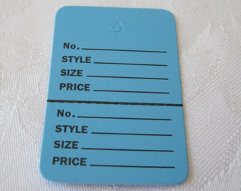 100 Price Tags, Clothing Price Tags, Clothes Tags, Retail Merchandise Tags, Hanging Tags, Blue Tags, 2 Part Inventory Tags, 1 1/4x1 7/8