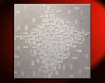 Large White Painting Abstract Textured Wall Art Urban Original Impasto Painting on Stretched Canvas Stylish Design 30x30 Custom