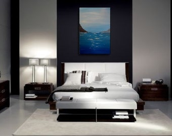 Large Abstract Seascape Painting Cliffs and Ocean Art Blue White Slate Grey Textured Impasto 24x36 mails quickly