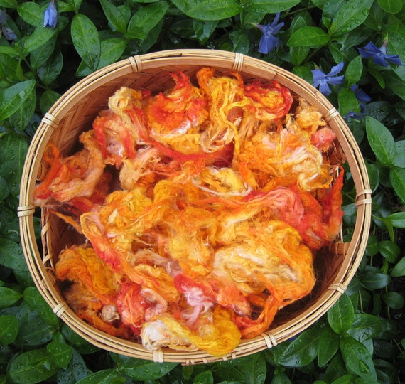 Silk Noil 'Marigolds' hand dyed, spin blend felt 1 ounce