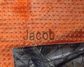 Personalized Baby Newborn Infant Toddler Mossy Oak or Realtree Camo Camouflage Blanket 36 x 40 with Minky Backing