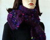 The Exquisite Hat and  Scarf Set - Purple and a Blend  of Boccollo Italian Yarn