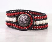 Black Leather Cuff Bracelet Bohemian Style Wrap Bracelet Red Coral Ivory White Western Boho Jewelry Made To Order Custom Hippie Fashion