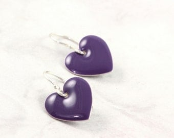 Purple Heart Earrings Valentine Jewelry Enameled Silver Dark Purple Spring Fashion