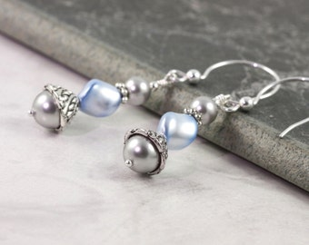 Blue Earrings Gray Pearl Bridal Collection Sterling Silver Prom Jewelry Spring Wedding Fashion Mothers Day Jewelry