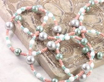 Pink Badge Lanyard Green ID Holder White Badge Holder Office Fashion Gray ID Necklace Pearl Lanyard Summer Mint Badge Leash