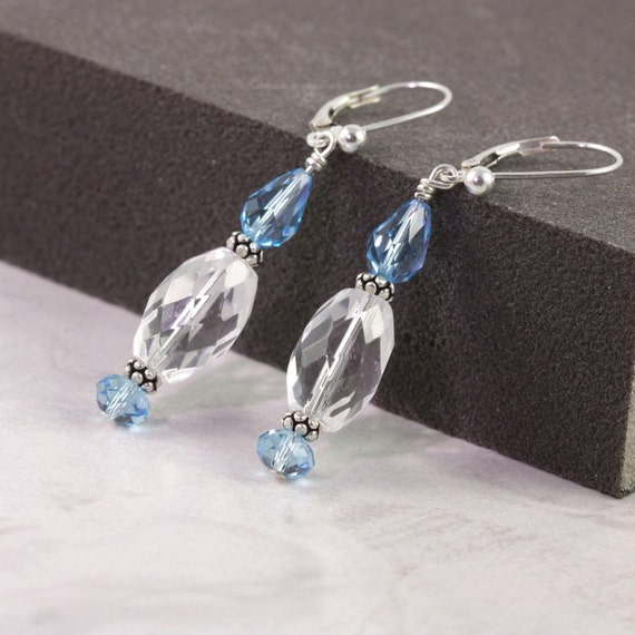Aquamarine Earrings Quartz Jewelry Aqua Bridal Jewelry Crystal Blue Summer Wedding Fashion Quartz Earrings Something Blue March Birthstone