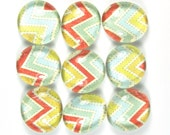 Glass Marble Magnets or Push Pins Set- Chevron in  Primary Colors