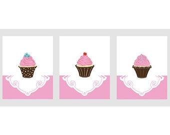 Cupcake Room Decor, pink and brown girl nursery art, set of 3, 8 x 10 art prints - different colors and sizes available