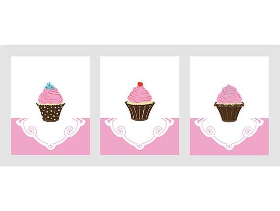 cupcake room decor pink and brown girl nursery art set of 3