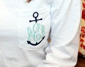 Monogram Pocket Anchor Tee Tshirt Long Sleeve Tee