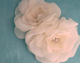 Double Organza Rose Hair Comb F202 - bridal hair accessory