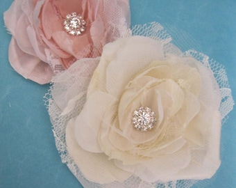 Wedding hair flower Ivory, Blush, Silk, Lace, Rose hair set, A310 - bridal hair accessory