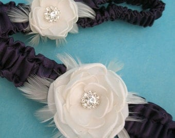 Wedding garter in Eggplant Purple and Ivory - Feather Rose Bridal Garter - Garter Set F232 - bridal garter accessory garters