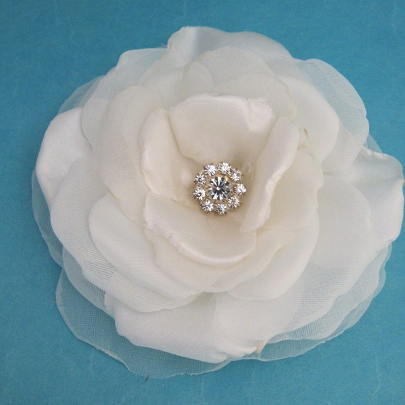 4 inch Ivory Satin and Organza Rose Hair Clip E306- bridal hair clip accessory