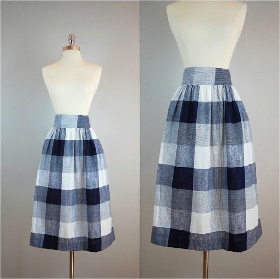 blue and white checkered skirt checkered midi skirt high