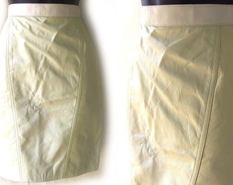 80s 2 Tone White Leather Skirt XS S