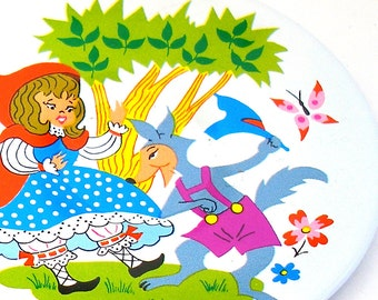 60's Tin Toy Tea plate, Red Riding Hood storybook graphics, small size.