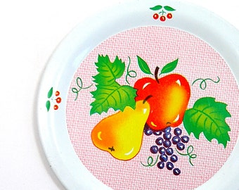 50's Tin Toy Tea plate with fruit graphics by Ohio Art.