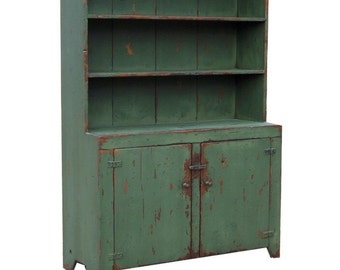 Primitive farmhouse step back hutch painted country Early American decor reproduction stepback cupboard cabinet