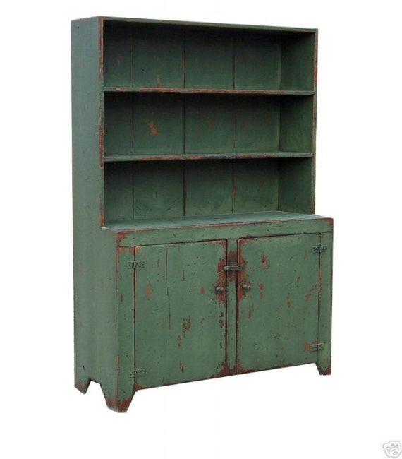 Farmhouse furniture step back hutch primitive painted country  Early American reproduction stepback