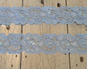 New-Stretch Lace LIGHT BLUE  Large Floral -1 1/2 inch -5 yards