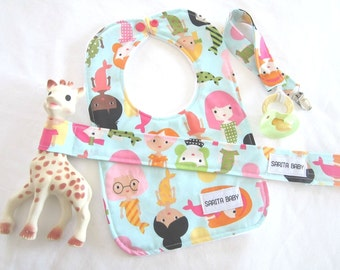 Baby Gift Set - Baby Girl - Mermaids - Pacifier Clip - Toy Leash - Baby Bib - Baby Shower Gift - Gift for Baby - Gift Under 50