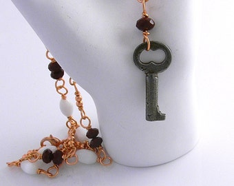 """Steampunk Religion Necklace No 7  with antique key 27"""" extra long Copper Glass & Crystal"""