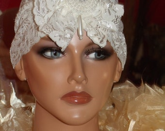 off White lace Flapper Headband Turban  Pearl 1920 style Wrap