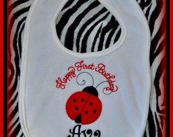 Ladybug Birthday Bib,  Ladybug First Birthday,  Cake Smash BIB, Baby Birthday Bib, Baby Birthday Gift, Cake Smash Photo Prop, Birthday Bib