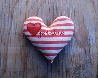 Heart Je T'Aime Pink Red Vintage French Ticking Lavender Sachet
