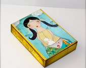 Girl Holding a Rabbit - Mermaid Aceo Giclee print mounted on Wood (2.5 x 3.5 inches) Folk Art  by FLOR LARIOS