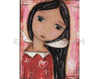 Serenity - Angel Print from Painting by FLOR LARIOS (6 x 8 INCHES)