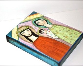 Nativity II -  Giclee print mounted on Wood (4 x 5 inches) Folk Art  by FLOR LARIOS