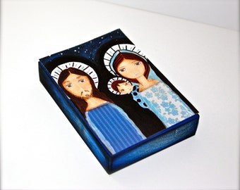 Starry Night - ACEO Giclee print mounted on Wood (2.5 x 3.5 inches) Folk Art  by FLOR LARIOS