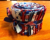 DESTASH. Patriotic red white and blue jelly roll strips